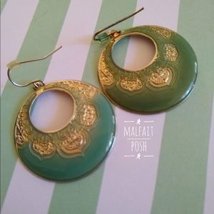 Gold and Green Enameled Earrings